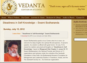 Listen to Lecture on Steadiness in Knowldge organised by Vedanta Centre of Atlanta